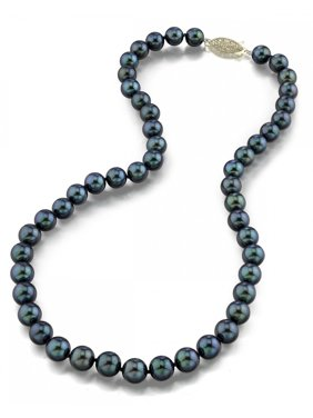 """14K Gold Black Akoya Cultured Pearl Necklace - AAA Quality, 18"""" Princess Length"""