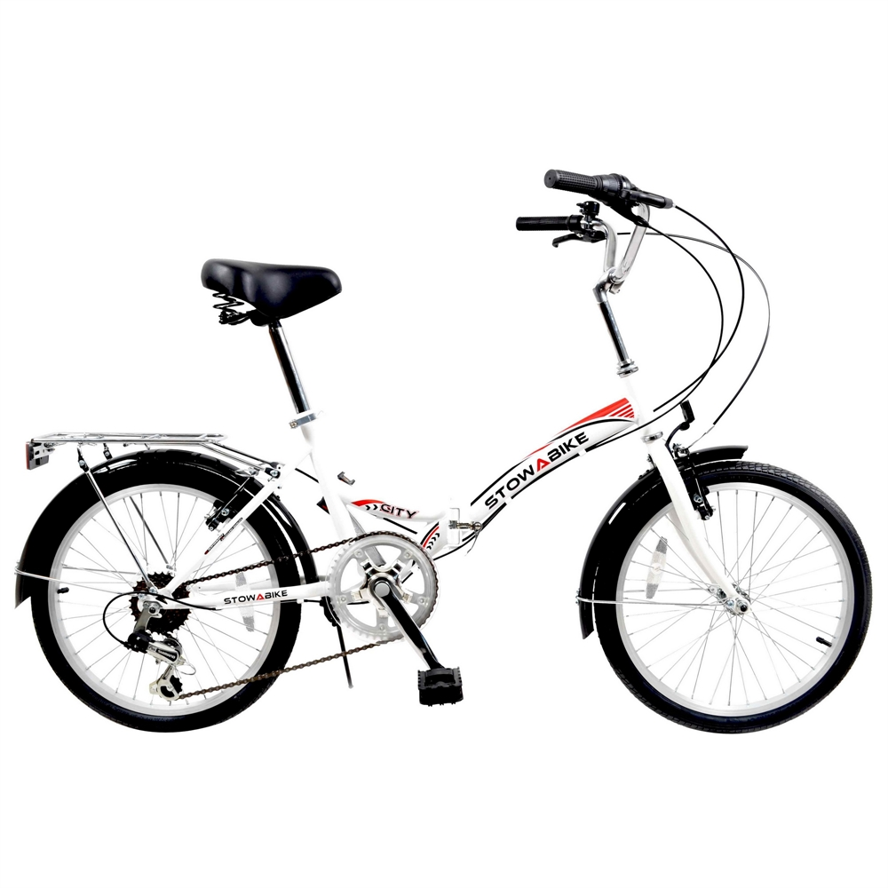 "Stowabike 20"" Folding City V2 Compact Foldable Bike – 6 Speed Shimano Gears White"