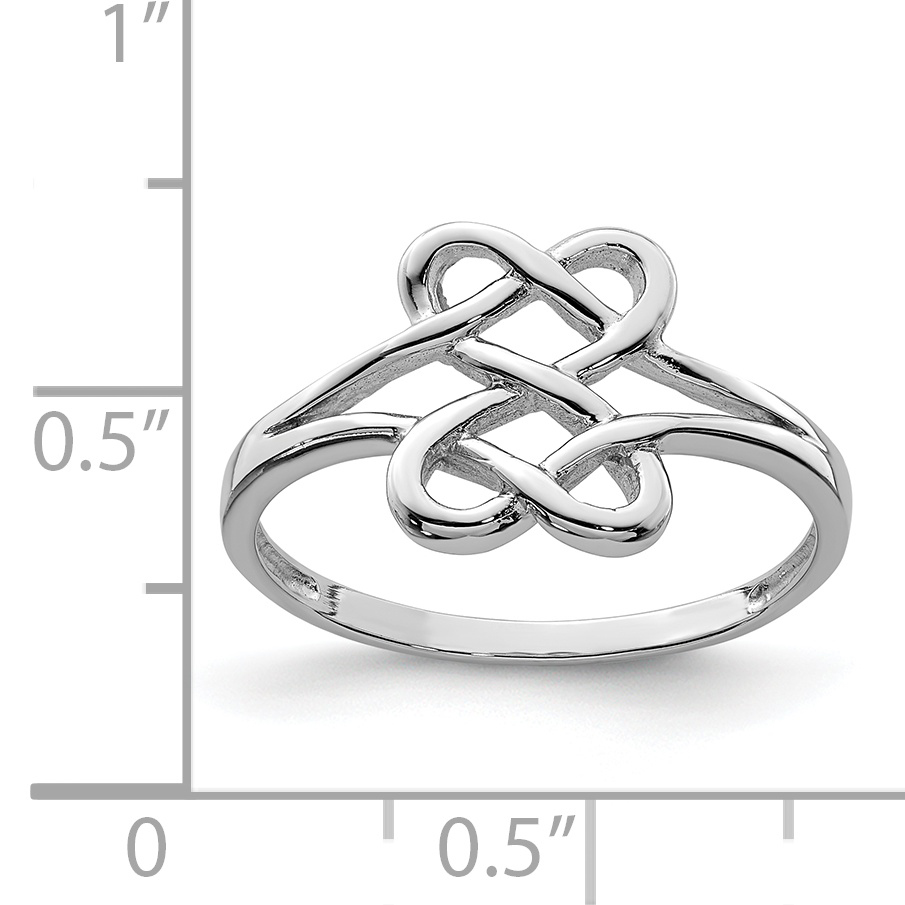 925 Sterling Silver Two Sided Heart Band Ring Size 7.00 S/love Fine Jewelry Gifts For Women For Her - image 1 de 2