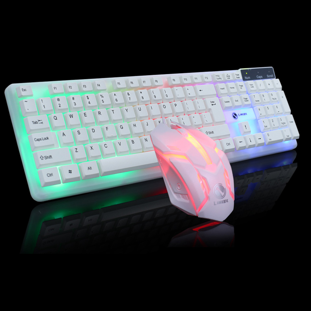Colorful LED Illuminated Backlit USB Wired PC Rainbow Gaming Keyboard Mouse Set