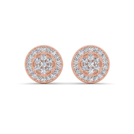 1/8Ct TDW Diamond 10K Rose Gold Cluster Halo Stud Earrings (Gold Diamond Cluster Earrings)