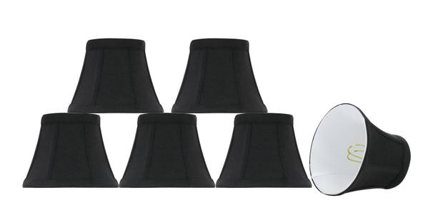 """Aspen Creative 30271-6 Small Bell Shape Chandelier Clip-On Lampshade Set (6 Pack), Transitional Design in Black, 4""""... by Aspen Creative Corporation"""