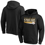 Men's Fanatics Branded Black Pittsburgh Steelers Staggered Stripe Pullover Hoodie