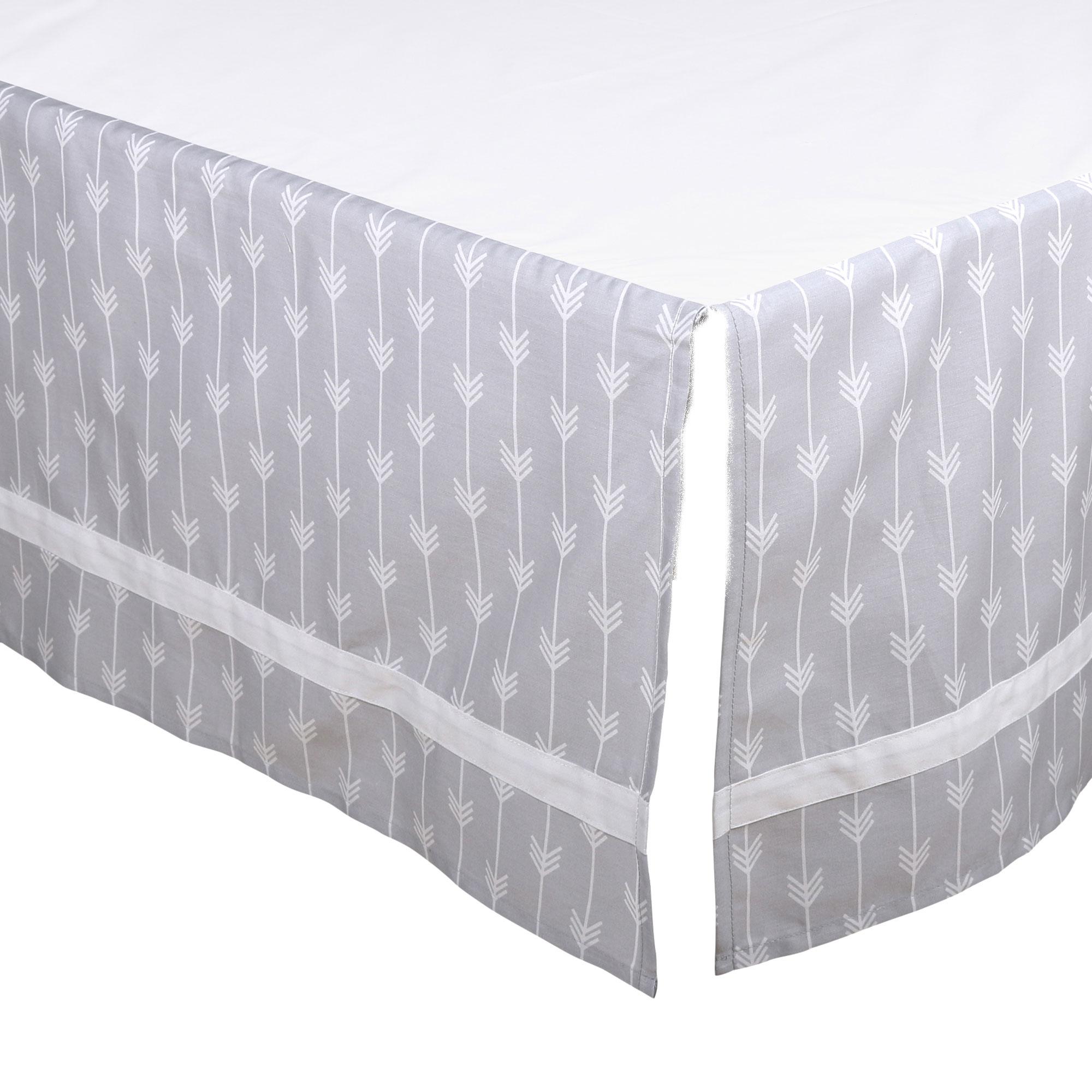 The Peanut Shell Tailored Crib Skirt - Grey Arrow Chevron Geometric Print with White Trim - 100% Cotton Sateen 14 Inch Drop, Standard Crib