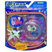 Hasbro Year 2007 Littlest Pet Shop Special Edition Pet PUNKIEST Series Bobble Head Pet Figure Set - Punk IGUANA with Necklace and Show-Off Bubble Display Case (64053)