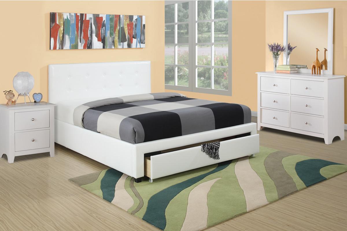 Master Bedroom Furniture 4pc Set Full Size Bed w Storage Drawer FB White  Faux Leather White Dresser Nightstand Mirror Modern Set - Walmart.com