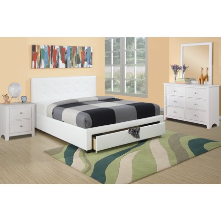 Master Bedroom Furniture 4pc Set Queen Size Bed w Storage Drawer FB White Faux Leather White Dresser Nightstand Mirror Modern Set ()