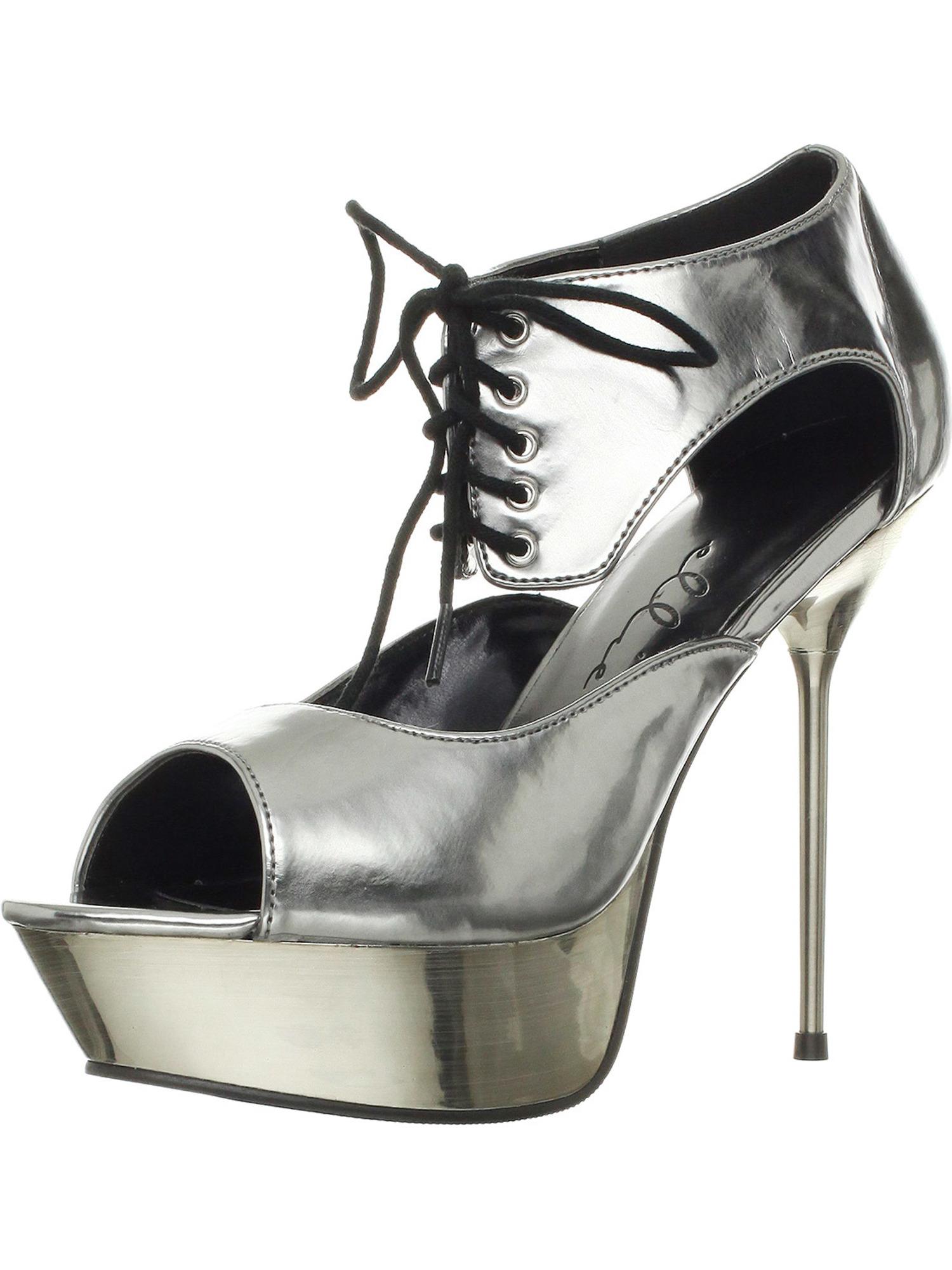 5 Inch High Heel Womens Sandals Metallic Platform Lace Up Shoes Stiletto Heel