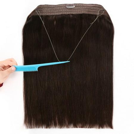 BHF Hair Remy HumanHair Invisible Wire HaloHairExtensions FlipinHair Extension Darkest Brown 16