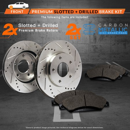 Max Brakes Front Performance Brake Kit [ Premium Slotted Drilled Rotors + Metallic Pads ] TA010331 | Fits: 1999 99 2000 00 2001 01 2002 02 2003 03 Volvo S80 - image 8 of 8