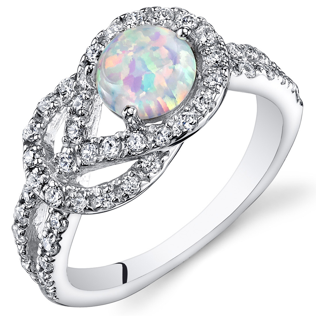 Peora 0.75 Created Opal Engagement Ring in Rhodium-Plated Sterling Silver