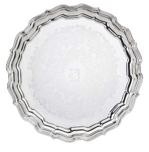 SILVER PLATED EMBOSSED TRAY, CHIPPENDALE COLLECTION