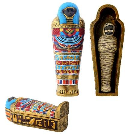 Ebros Gift Ancient Egyptian Small Mummy with Sarcophagus Miniature Jewelry Trinket Box Container (Small Miniature)