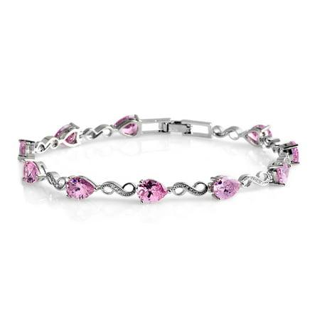 Silvertone Cubic Zircon Pink White Cubic Zirconia CZ Fashion Bracelet for Women 8