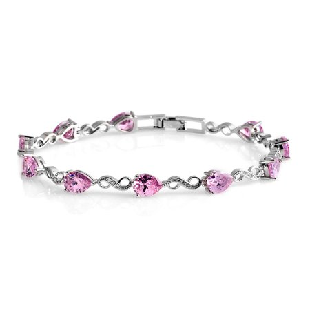 Silvertone Pink and White Cubic Zirconia CZ Fashion Bracelet for Women Gift 8 inch Cttw 7.3