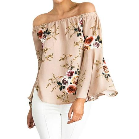 Nlife Women Long Sleeve Off Shoulder Floral Print Trumpet Tops Shirt Blouse Tee