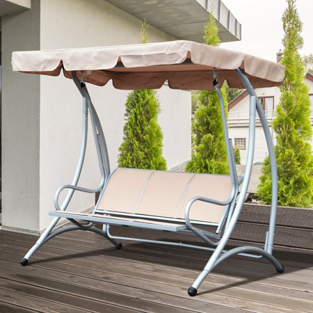 Fabric Sling Patio Furniture (Sling Fabric 3 Person Steel Outdoor Patio Porch Swing Chair with Adjustable Canopy Lawn - Beige)