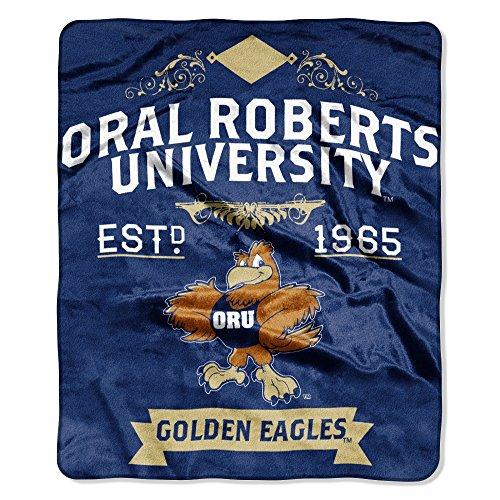 """NCAA Oral Roberts Golden Eagles Plush Raschel Throw Blanket, Navy, 50 x 60"""