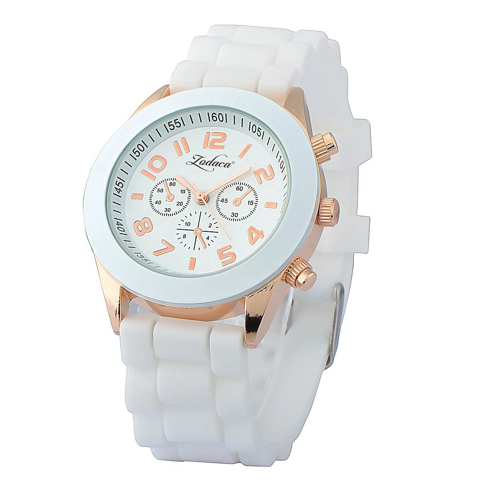Zodaca White Unisex Men Women Silicone Jelly Quartz Analog Sports Wrist Watch New