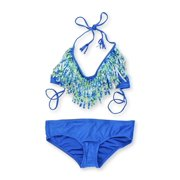 Raisins Womens Halter Fringe 2 Piece Bikini, blue, Medium