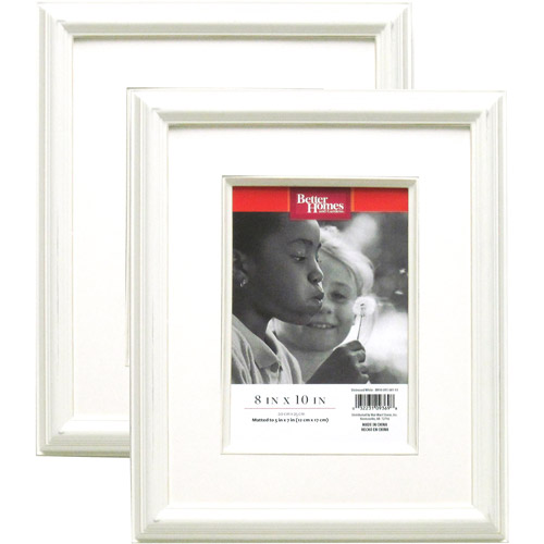 "Better Homes and Gardens 2pk 8"" x 10""/5"" x 7"" Picture Frames, Distressed White"