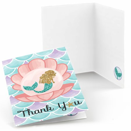 Let's Be Mermaids - Baby Shower or Birthday Party Thank You Cards (8 count) - Baby Shower Thank You Gifts For Guests