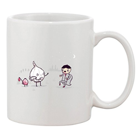 "Ceramic Coffee Mug - ""Garlic Traveler"" Funny Garlic Scaring Vampires At Night"