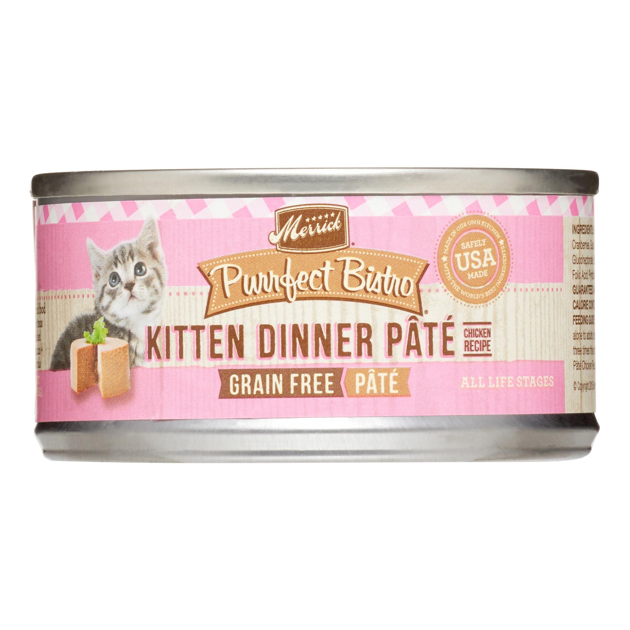 Merrick Purrfect Bistro Grain-Free Kitten Dinner Pate Chicken Recipe Wet Cat Food, 3 oz