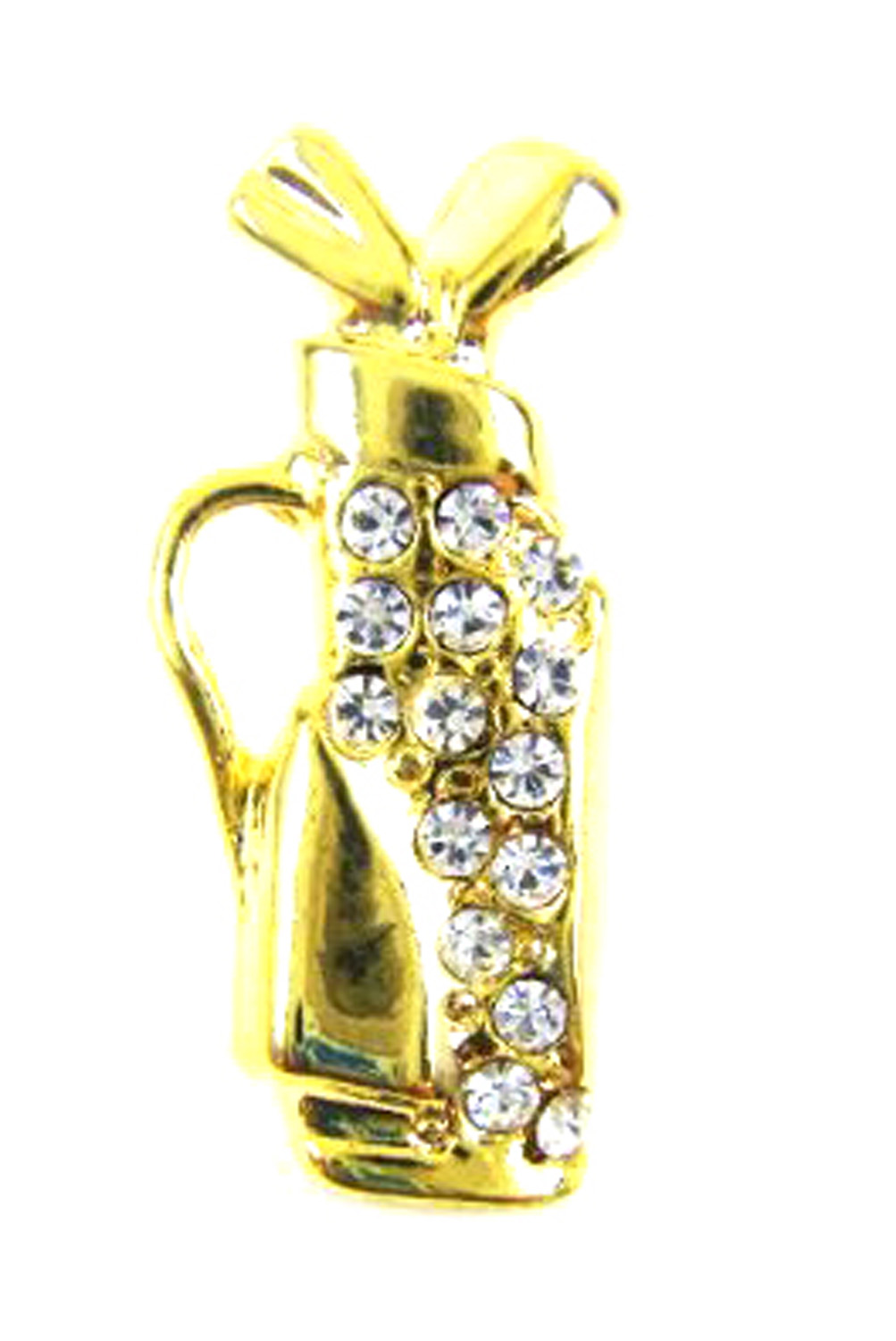 Gold Tone Golf Club Brooch Pin with Rhinestones by
