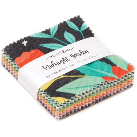 Garden Quilting Fabric - Midnight Garden Moda Mini Charm Pack by One Canoe Two; 42 - 2.5