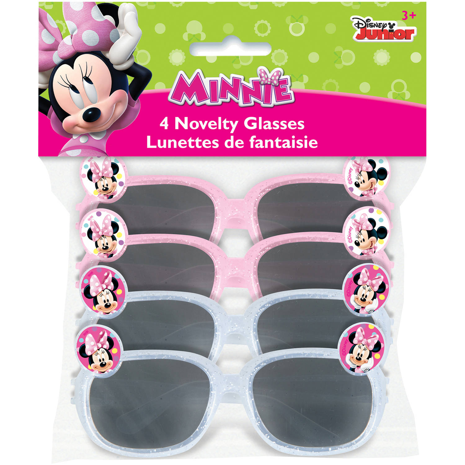 Minnie Mouse Plastic Novelty Glasses, Assorted, 4ct