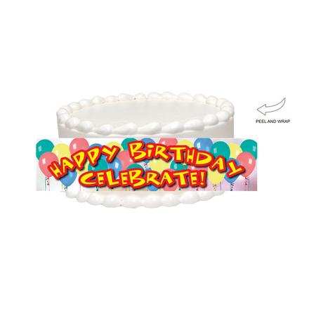 - Happy Birthday Balloons Edible Cake Side Photo Image Decoration