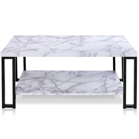 Gymax Coffee Table Faux Mable Top Metal Frame Accent Cocktail Table w/ Storage Shelf - image 8 of 10