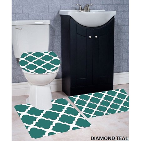 Wpm 3 Piece Bath Rug Set Diamond Pattern Bathroom Rug