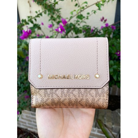 Michael Kors Hayes Medium Trifold Coin Case Rose Hold MK Signature Pink ()