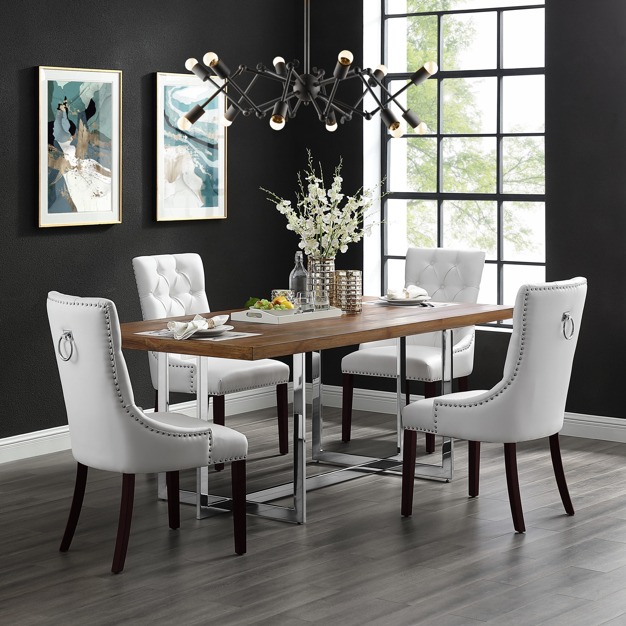 Inspired Home Faith Leather Pu Dining Chair Set Of 2 Tufted Ring Handle Chrome Nailhead Finish White Walmart Com Walmart Com