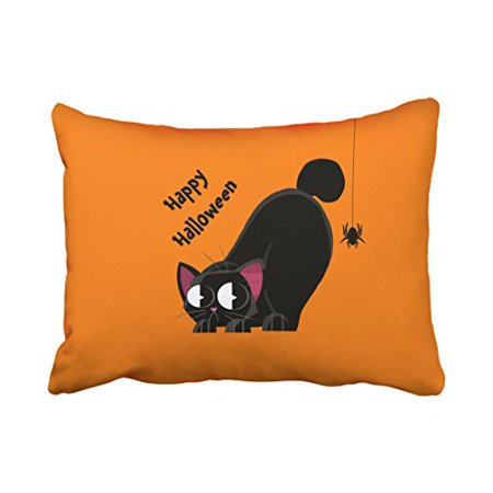 WinHome Cute Happy Halloween Cartoon Black Cat And Spider Orange Polyester 20 x 30 Inch Rectangle Throw Pillow Covers With Hidden Zipper Home Sofa Cushion Decorative Pillowcases (Black And Orange Spider)