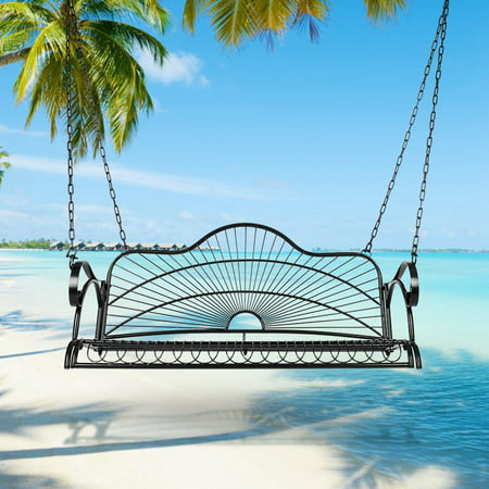 Mgaxyff Iron Hanging Patio Porch Swing Chair Bench Seat Ourtdoor Furniture with Chains and Arm , Iron Bench Chairs, Iron Porch Bench Chairs ()