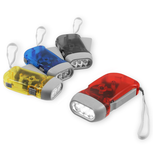 Chromo Inc 4 Pack of Hand Crank All-Purpose LED Flashlights with Squeeze Powered Recharge
