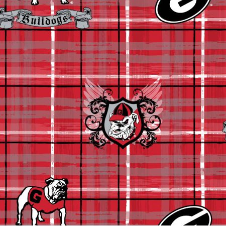 University of Georgia Cotton Plaid College Print-Sold by the Yard