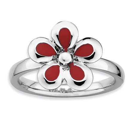 Sterling Silver Stackable Expressions Polished Red Enameled Flower Ring Size 5 - image 1 de 3