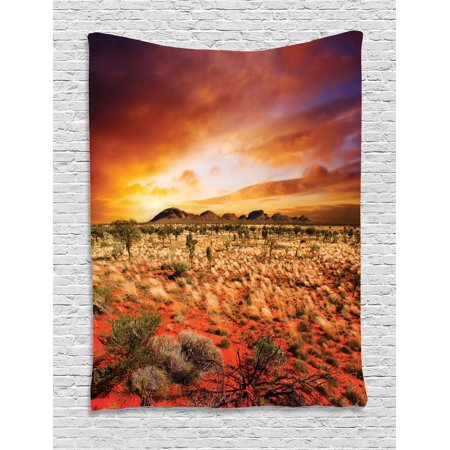 Desert Tapestry, Sunset over Central Australian Landscape Dreamy Dramatic Sky Scenic Nature, Wall Hanging for Bedroom Living Room Dorm Decor, 40W X 60L Inches, Orange Yellow Coral, by Ambesonne