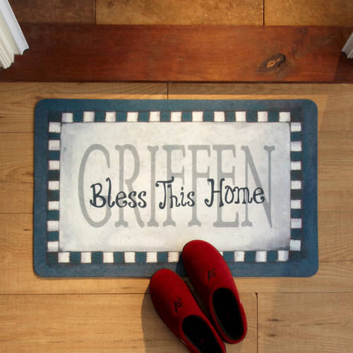 Personalized Bless This Home Doormat 17 x 27, Available in 5 Colors