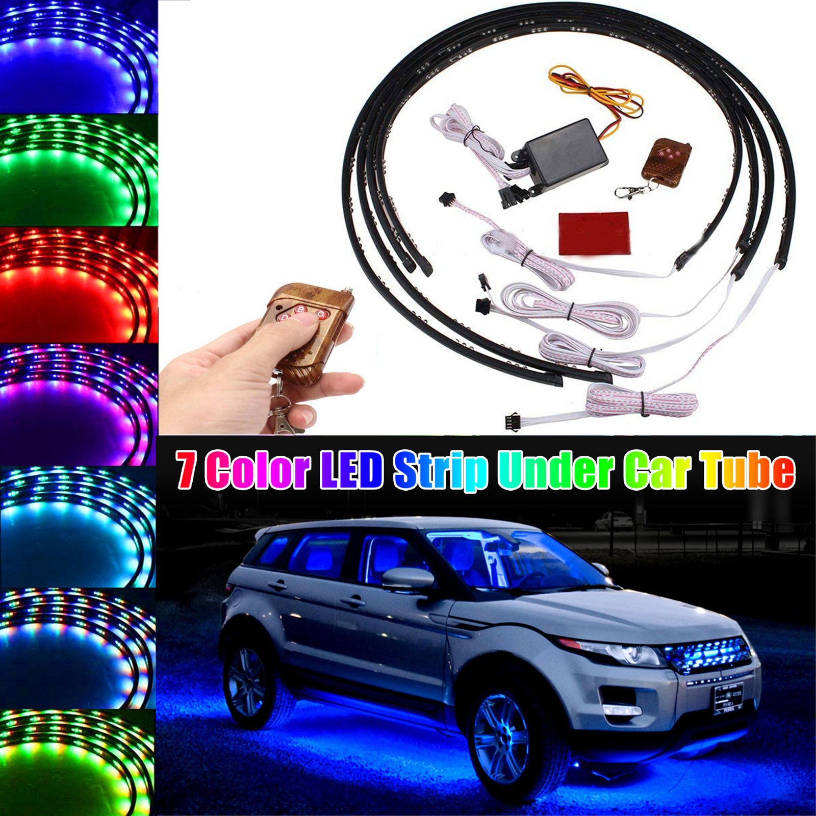 Led Lights For Cars >> Car Led Lights Strip With Remote 252 Leds Waterproof 7 Color Led Strip Under Car Tube Underbody System Neon Lights W Remote Control
