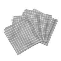 Grid Squares Gray Texture Monochrome Cotton Dinner Napkins by Roostery Set of 4