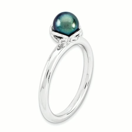 Sterling Silver Stack Exp. Polished Black FW Cultured Pearl Ring Size 9 - image 3 de 3