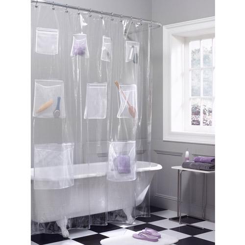 Maytex Mesh Pockets PEVA Storage Shower Curtain, Clear by Maytex Mills