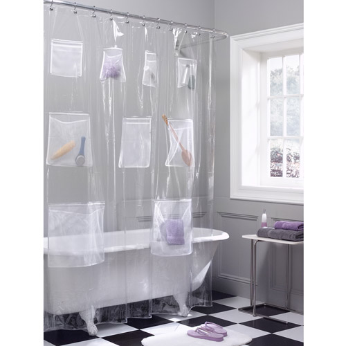 Maytex Mesh Pockets PEVA Storage Shower Curtain, Clear
