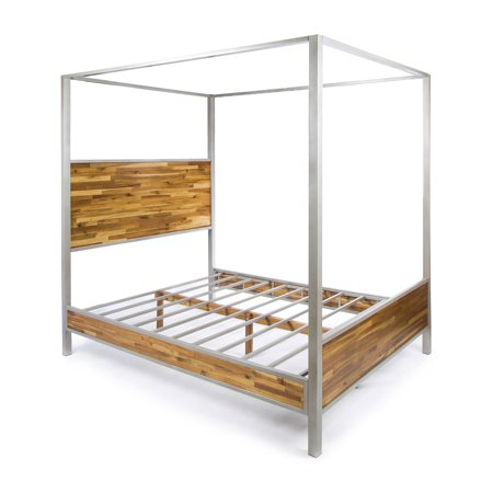 Eatha Solid Acacia Wood Queen Size Canopy Bed With Finished Iron Accents Natural Stained