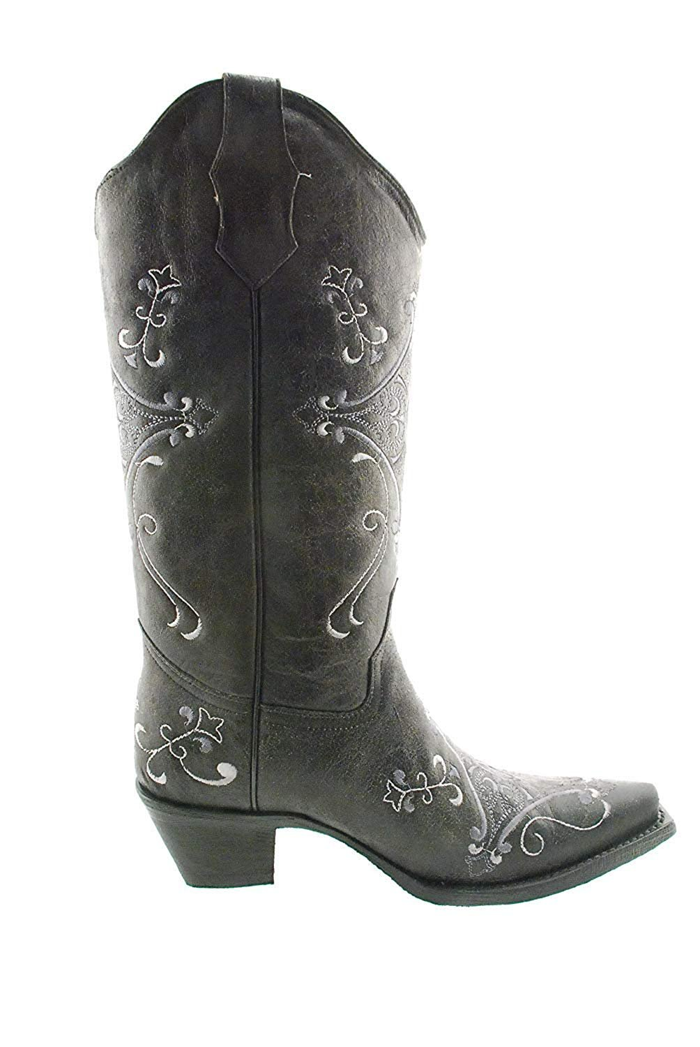fd7118e039d CORRAL Women's Circle G Crackle Scroll Bone Embroidered Western Boot (10.5  M US)